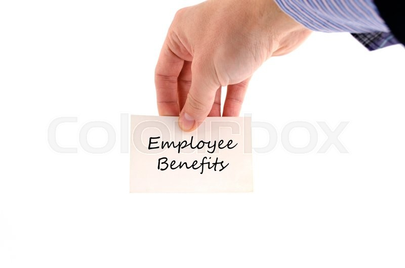 Stock image of 'Employee benefits text concept isolated over white background'