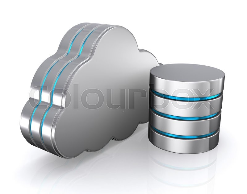 Stock image of '3D illustration of cloud icon, database concept-cloud computing.'