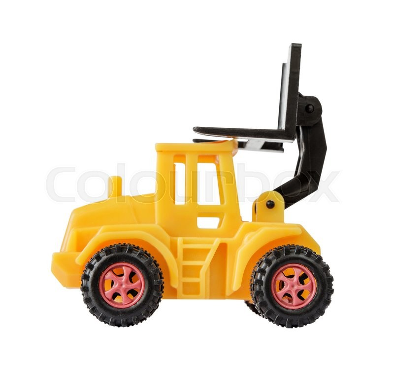 Stock image of 'Yellow toy forklift made of plastic, with a raised loader, isolated on a white background, side view'