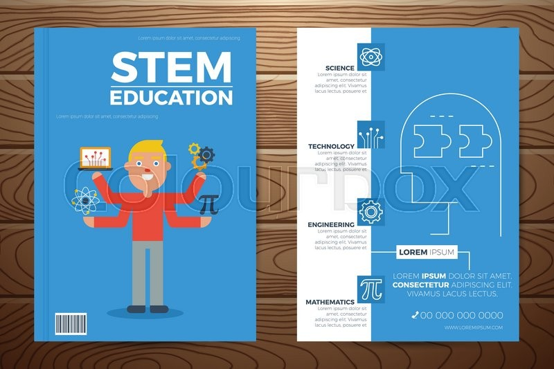 Extrêmement Stem education book cover and flyer a4 template layout with flat  SM32