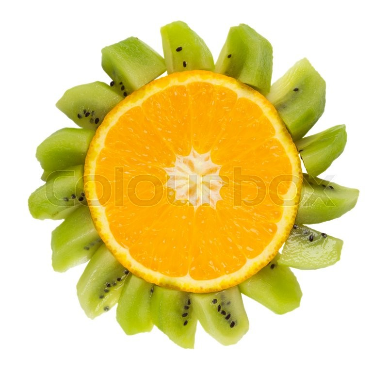 Stock image of 'Funny flower made of oranges and kiwi isolated on white. Clipping Path included.'