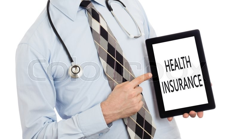 Stock image of 'Doctor, isolated on white backgroun,  holding digital tablet - Health insurance'
