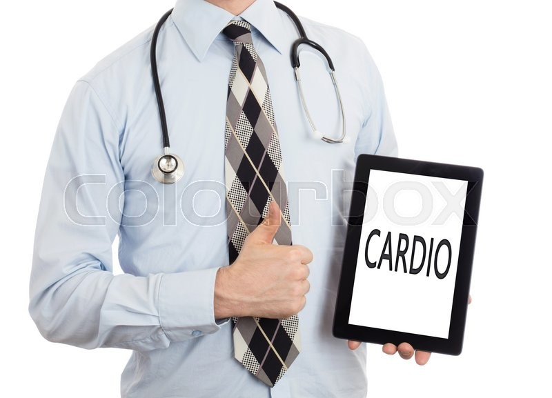 Stock image of 'Doctor, isolated on white backgroun,  holding digital tablet - Cardio'