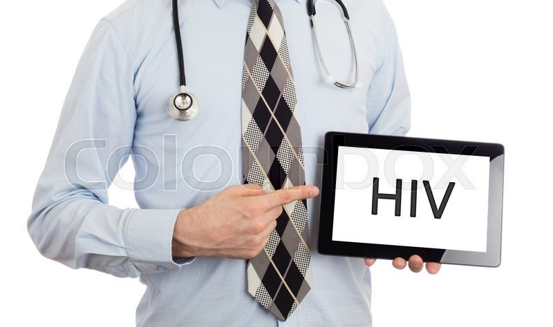 Stock image of 'Doctor, isolated on white backgroun,  holding digital tablet - HIV'