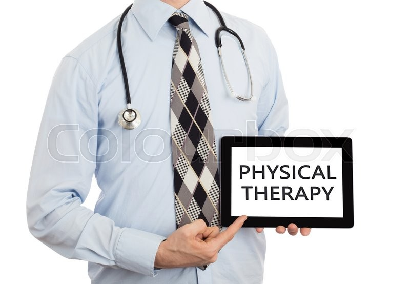 Stock image of 'Doctor, isolated on white backgroun,  holding digital tablet - Physical therapy'