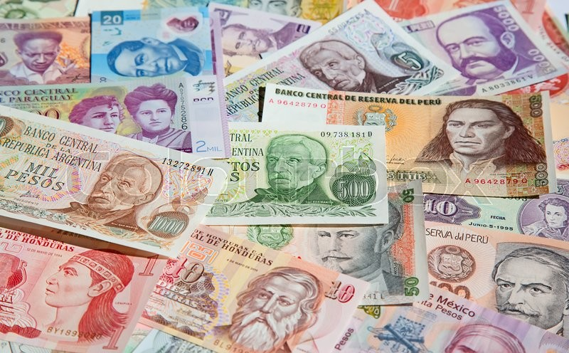Stock image of 'Variety of South American banknotes'