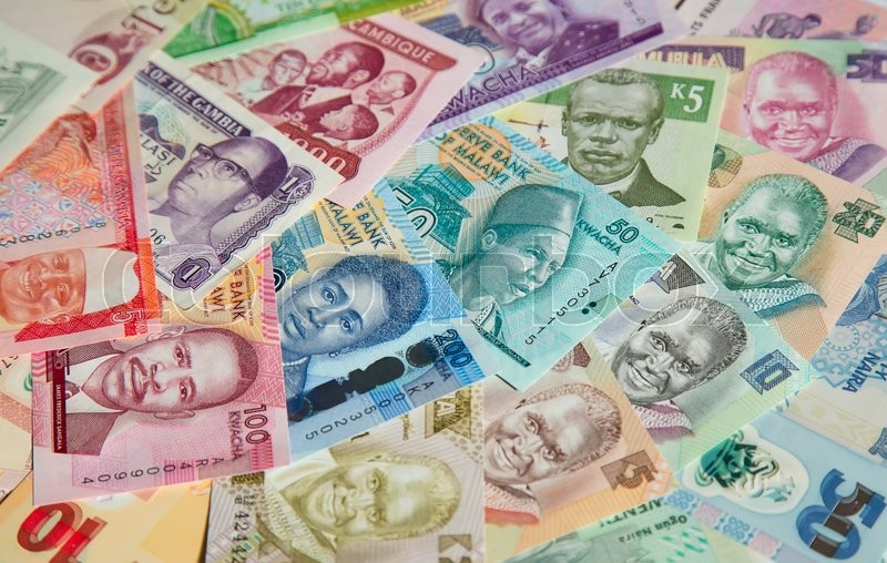 Stock image of 'Variety of the African banknotes'