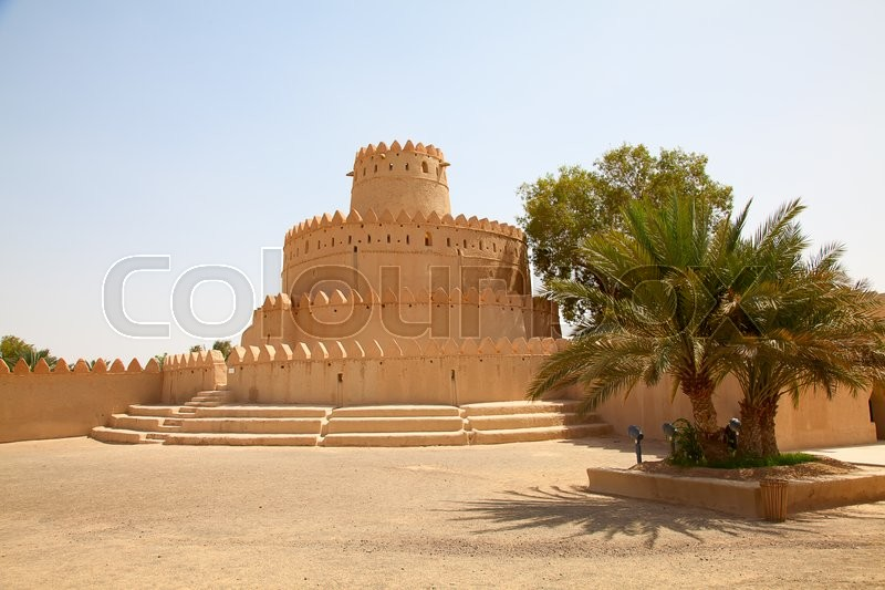 Stock image of 'Famous Jahili fort in Al Ain oasis, United Arab Emirates'