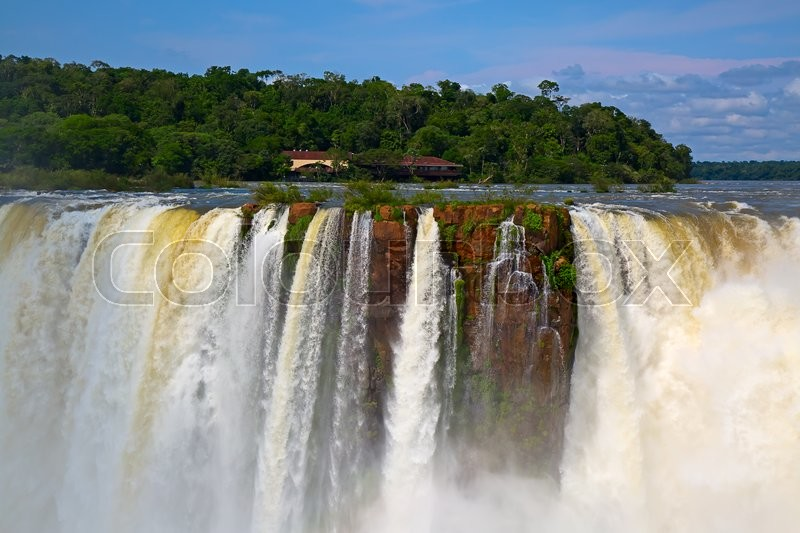 Stock image of 'Famous Iguazu falls on the border between Argentina and Brazil'