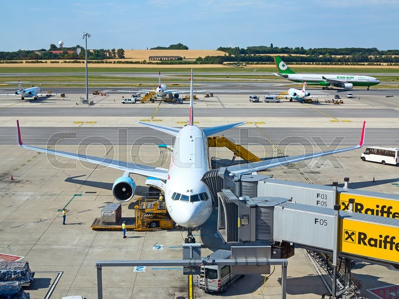 Editorial image of 'VIENNA - JULY 8: Austrian Airlines A-319 preparing for take-off in Vienna airport on July 8, 2015 in Vienna, Austria. Vienna airport is home for Austrian Airlines and one of biggest european hubs.'