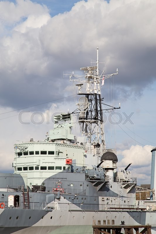 Stock image of 'London, HMS Belfast on the pier'