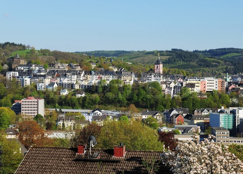 Stock image of 'Historic city center from siegen city panorama'