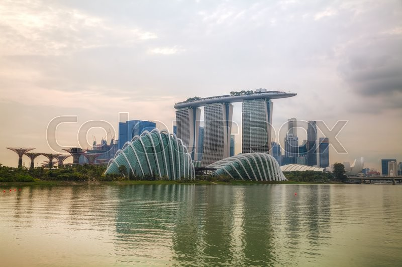Editorial image of 'SINGAPORE - NOVEMBER 7: Overview of Singapore with the Marina Bay Sands on November 7, 2015 in Singapore.'