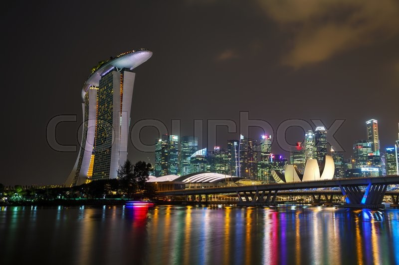 Editorial image of 'SINGAPORE - NOVEMBER 6: Overview of the marina bay with the Marina Bay Sands on November 6, 2015 in Singapore.'