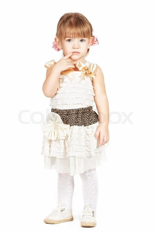Stock image of 'Little girl in a white dress isolated on white '