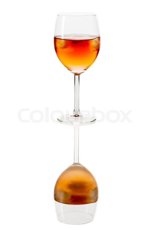 Stock image of 'Drink in wine glass with ice cubes on white background mirrored'