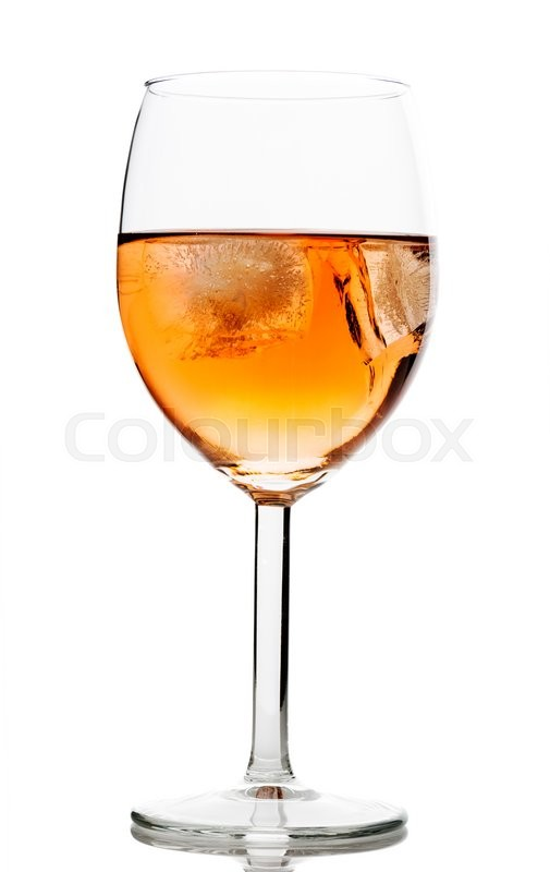 Stock image of 'Drink in wine glass with ice cubes on white background'
