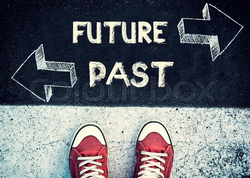 Stock image of 'Student standing above the future and past sign,dilemma concept '