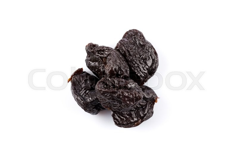 Stock image of 'Dried plum - prunes fruits isolated on a white background'