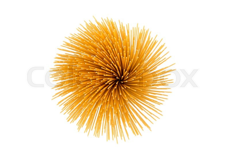 Stock image of 'Flower of whole wheat spaghetti gathered in a bunch, view from top on white'