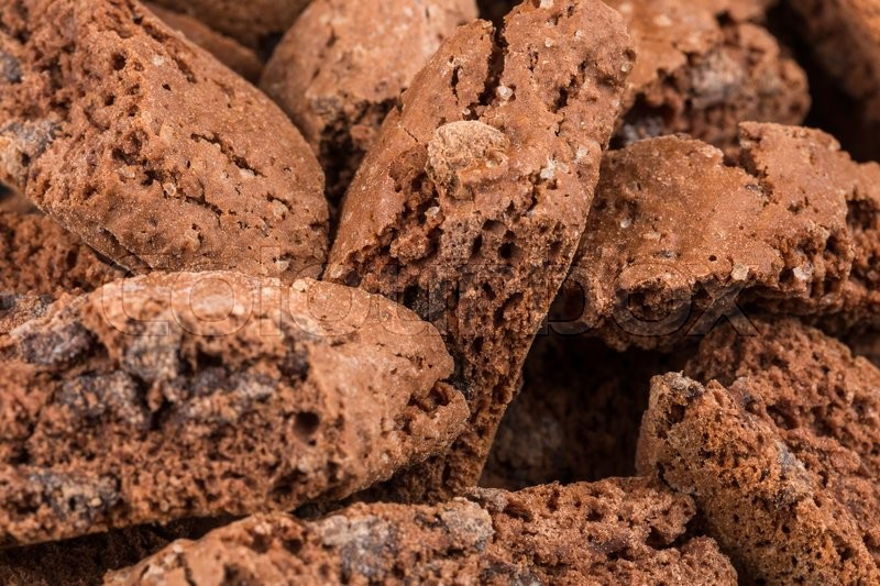 Stock image of 'Cantucci with chocolate pieces close up as a background'