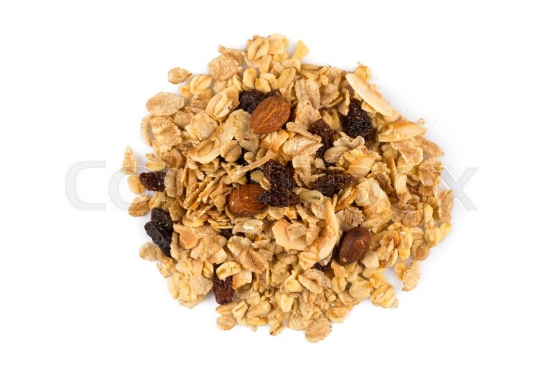 Stock image of 'Top close view of a dry mix of fruit and almon nuts cereal on white'