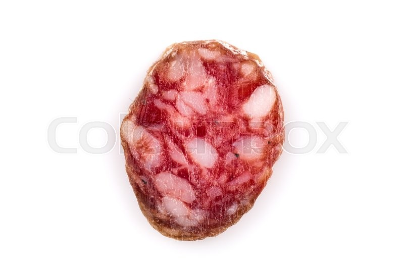Stock image of 'slices of salami isolated on a white background'