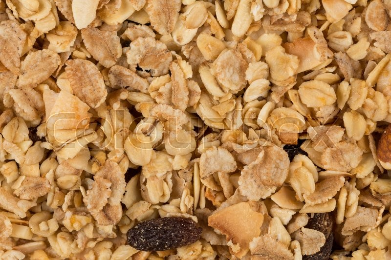 Stock image of 'Closeup of a pile of muesli cereal breakfast oatmeal'