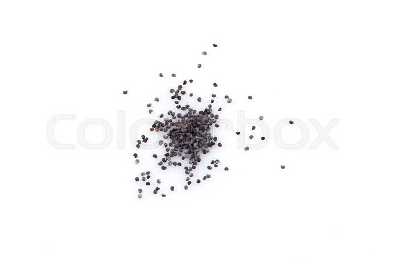 Stock image of 'Poppy seeds heap close up isolated on white background'