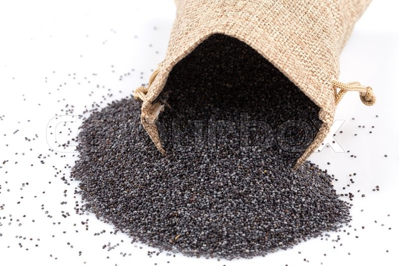 Stock image of 'poppy seeds in a sack on a white background'
