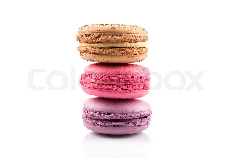 Stock image of 'Tasty colorful macaroon isolated on white background'