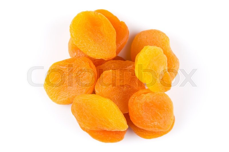 Stock image of 'Dried apricots on white background with a light shadow'