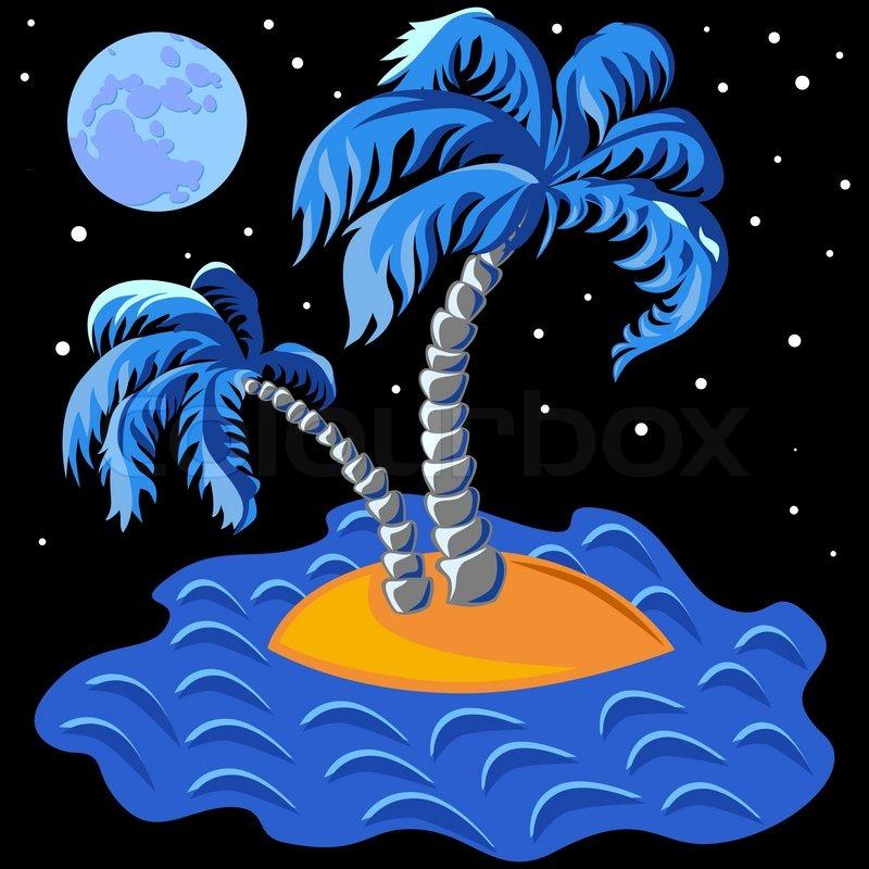 Tropische landschaft der insel im meer und zwei palmen um for Koch auf englisch