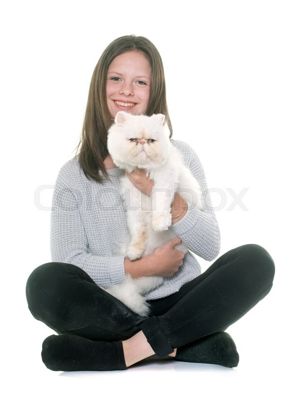 Stock image of 'white persian cat and teenager in front of white background'