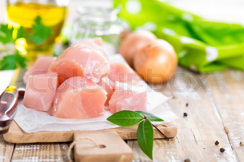Stock image of 'Raw chicken fillet'
