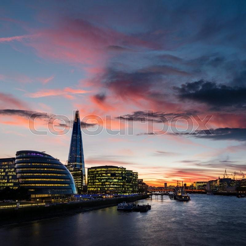 Modern London architecture. Current London skyline. London at night. London after sunset, stock photo