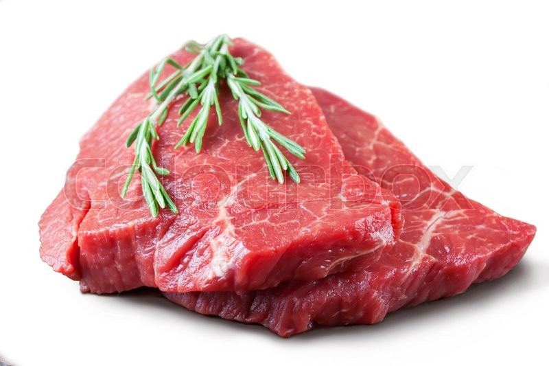 Stock image of 'Fresh raw beef steak with rosemary isolated on white background'