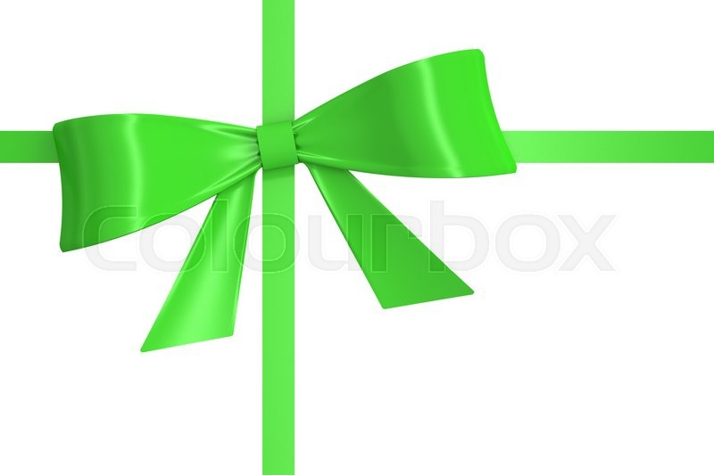 Stock image of 'green ribbon with bow. 3D rendering isolated on white background'
