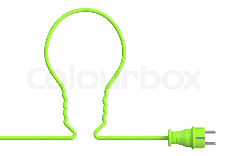 Stock image of 'green bulb with plug, eco concept. 3D rendering isolated on white background'
