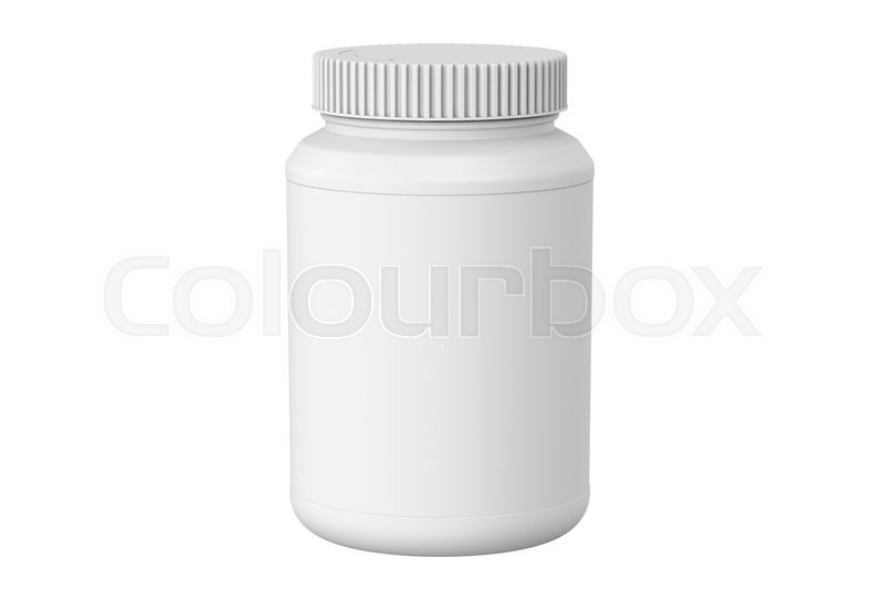 Stock image of 'white plastic jar, 3D rendering isolated on white background'