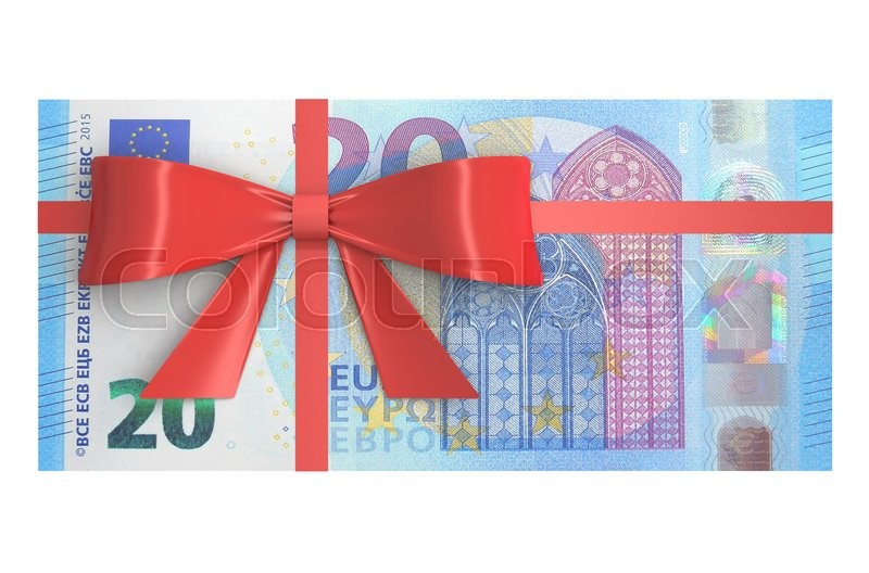 Stock image of 'Wad of 20 Euro banknotes with red bow, gift concept. 3D rendering'