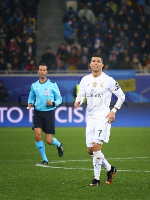 Editorial image of 'LVIV, UKRAINE - NOVEMBER 25, 2015: Cristiano Ronaldo of Real Madrid in action during UEFA Champions League game against FC Shakhtar Donetsk at Arena Lviv stadium'