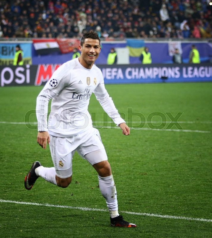 Editorial image of 'LVIV, UKRAINE - NOVEMBER 25, 2015: Cristiano Ronaldo of Real Madrid reacts after scored a goal during UEFA Champions League game against FC Shakhtar Donetsk at Arena Lviv stadium'
