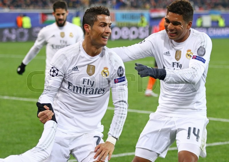 Editorial image of 'LVIV, UKRAINE - NOVEMBER 25, 2015: Real Madrid players celebrate after scored a goal during UEFA Champions League game against FC Shakhtar Donetsk at Arena Lviv stadium'