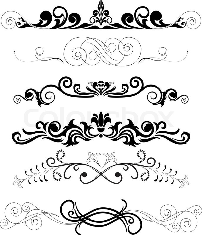 Set Of Black Flower Design Elements Stock Vector: Vector Illustration: Set Of Swirling Decorative Floral