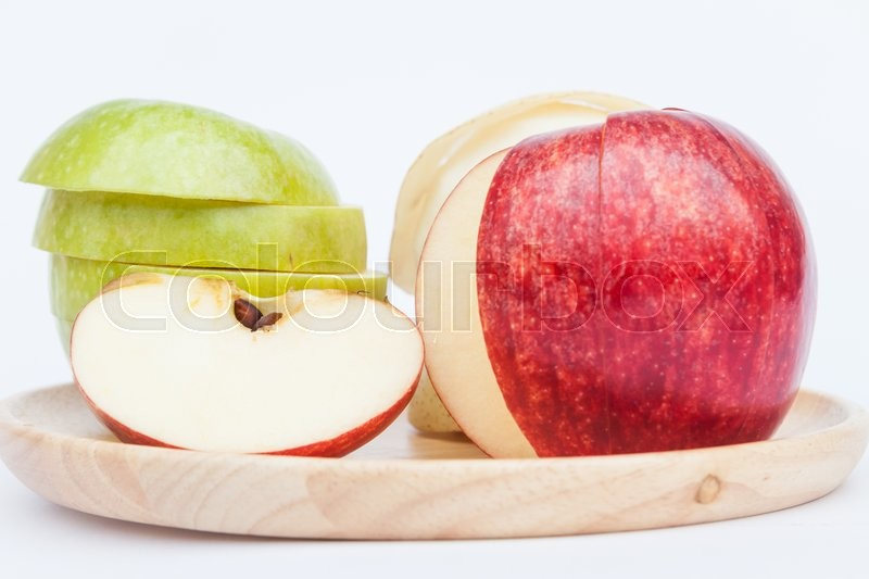 Stock image of 'Three different kind of apples on white background, stock photo'
