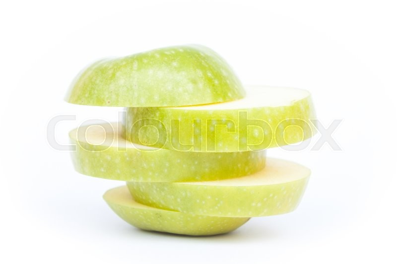 Stock image of 'Sliced green apple on white background, stock photo'