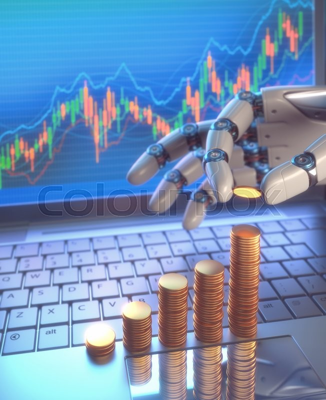 Stock image of '3D image concept of software (Robot Trading System) used in the stock market that automatically submits trades to an exchange without any human interventions. A robot hand counting money in graph form on the rise. Depth of field with focus on the gold coin on the fingers.'