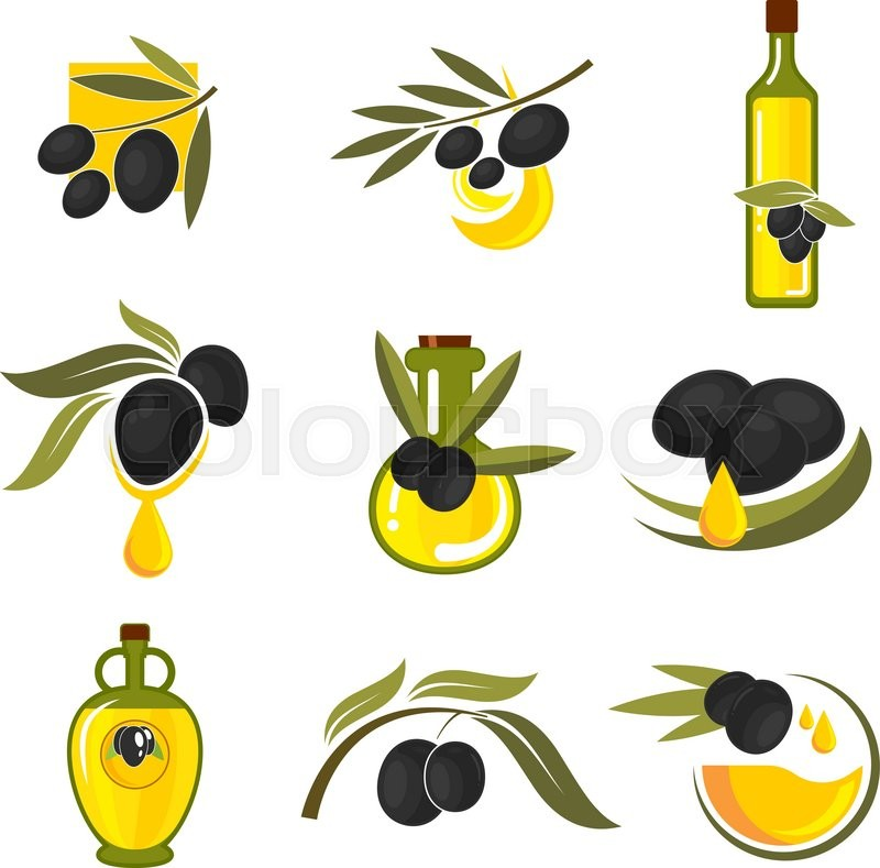 Spanish Black Olives Symbols Of Olive Tree Branches With Fresh