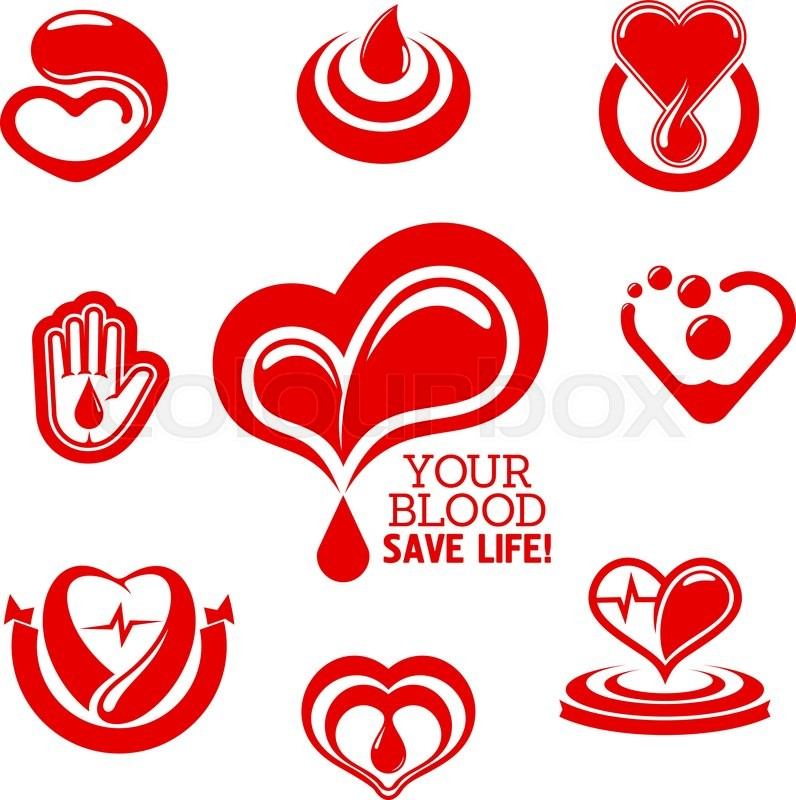 Blood Donation Conceptual Symbols With Bright Red Hearts With Pulse